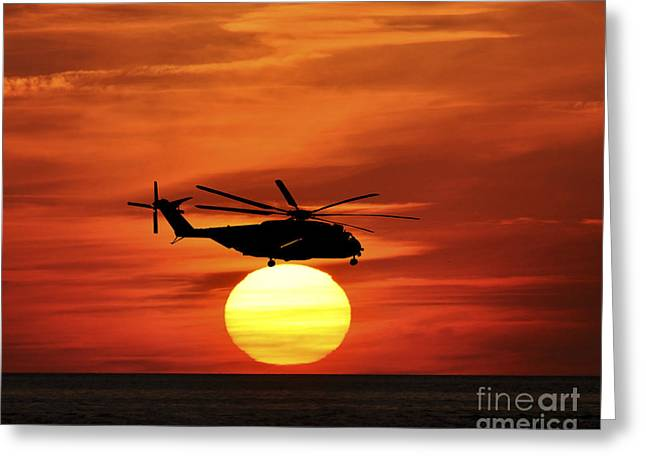 Helicopter Photographs Greeting Cards - Sea Dragon Sunset Greeting Card by Al Powell Photography USA