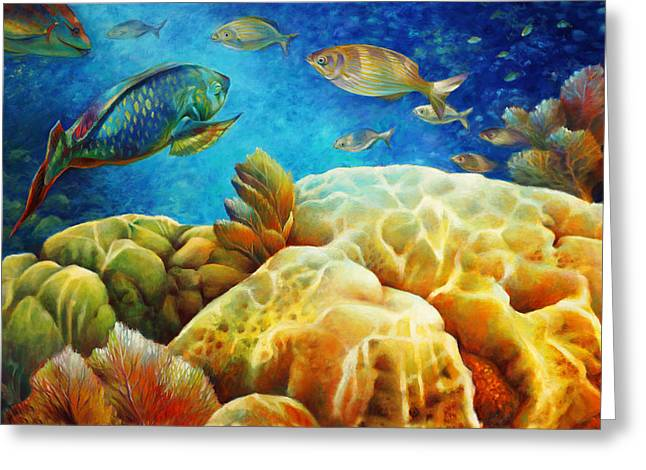 Grunts Paintings Greeting Cards - Sea eScape I -27x40 Greeting Card by Nancy Tilles