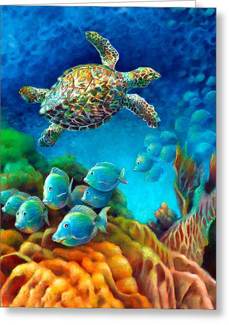 Gallery Wrap Paintings Greeting Cards - Sea eScape III - Hawksbill Gemstone Turtle Greeting Card by Nancy Tilles