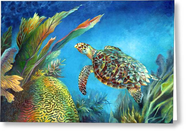 Ocean Turtle Paintings Greeting Cards - Sea eScape IV - Hawksbill Turtle Flying Free Greeting Card by Nancy Tilles