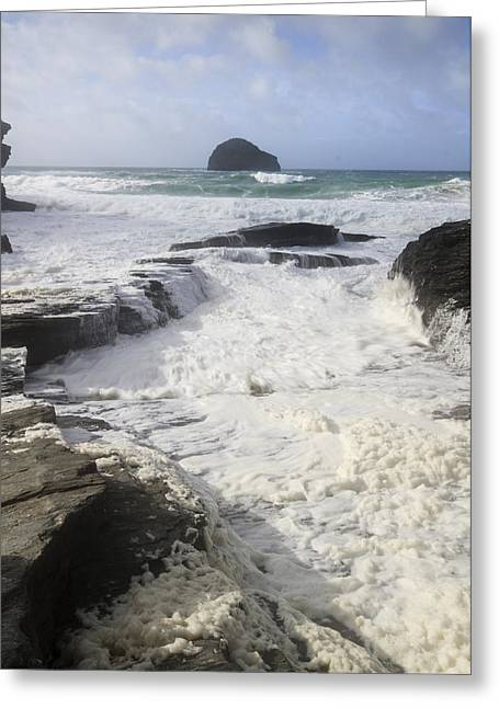 Algal Greeting Cards - Sea foam at Trebarwith strand Greeting Card by Chris Smith