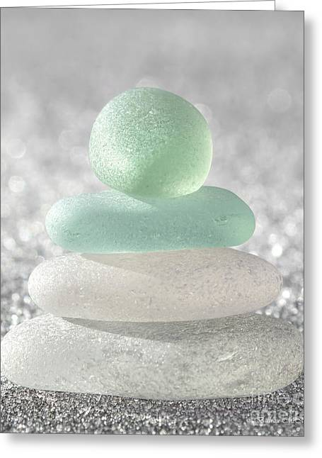 Gray Glass Greeting Cards - Sea Foam Beach Glass Greeting Card by Barbara McMahon
