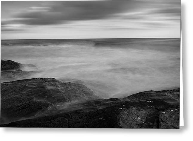 Lighthouse At Sunset Greeting Cards - Sea Foam Black And White Greeting Card by Lourry Legarde