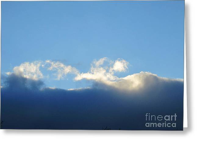 Grey Clouds Drawings Greeting Cards - Sea Foam Clouds 5 Greeting Card by Tara  Shalton