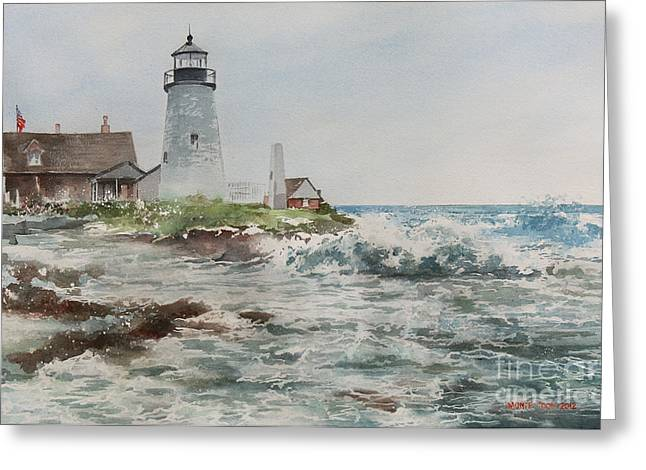 Recently Sold -  - Maine Lighthouses Greeting Cards - Sea Foam Greeting Card by Monte Toon