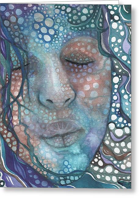 Dots Greeting Cards - Sea Foam Greeting Card by Tamara Phillips