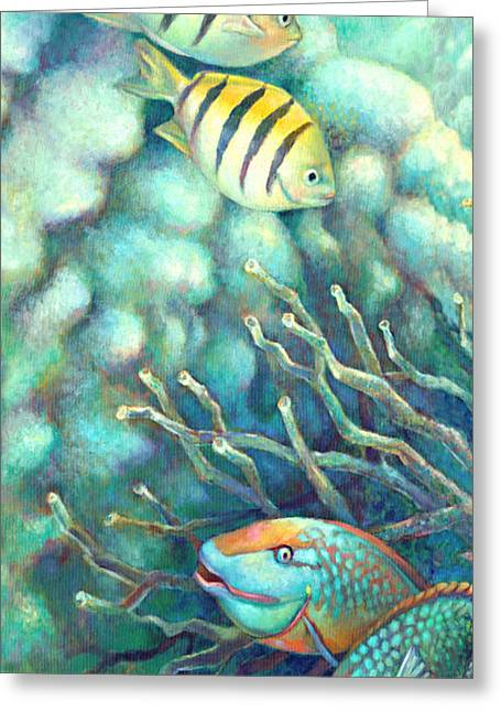 Sea Lions Paintings Greeting Cards - Sea Folk I - Sergeant Majors Greeting Card by Nancy Tilles