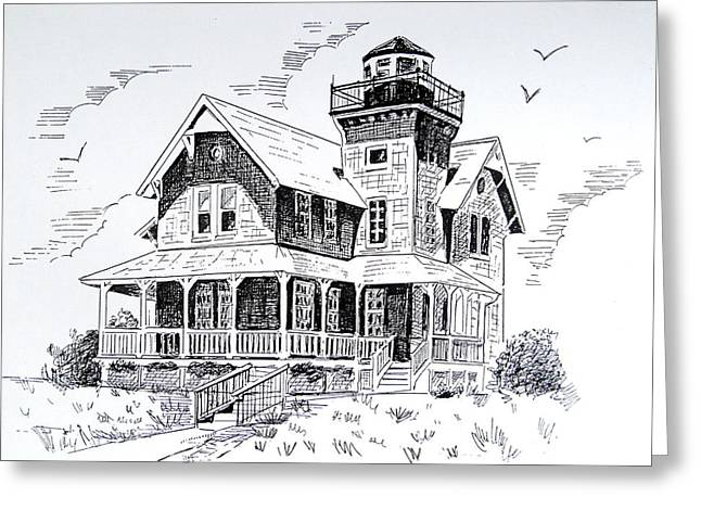 Sandy Beaches Drawings Greeting Cards - Sea Girt Lighthouse  Greeting Card by Melinda Saminski