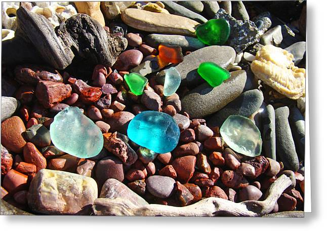 Green Ocean Glass Greeting Cards - Sea Glass art prints Beach Seaglass Greeting Card by Baslee Troutman
