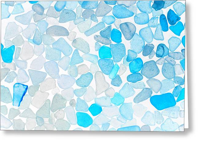 Glass Pebble Greeting Cards - Sea Glass Blue Greeting Card by Charline Xia