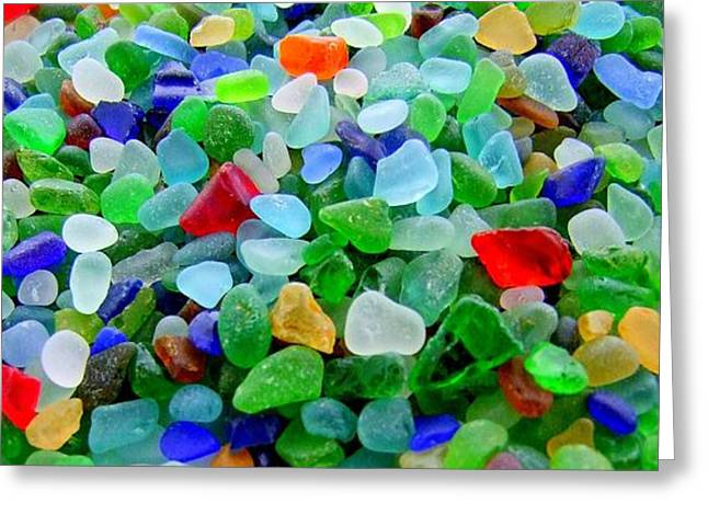Mary Deal Greeting Cards - Sea Glass Mural Greeting Card by Mary Deal