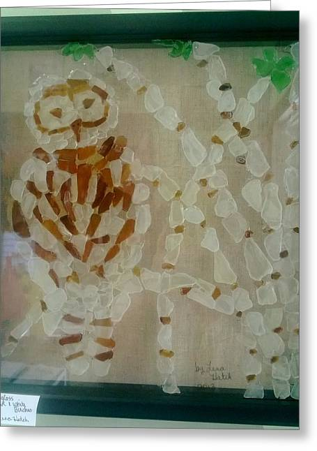 Owls Glass Greeting Cards - Sea Glass Snow Owl Greeting Card by Lena Hatch