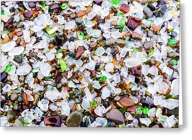 Priya Ghose Greeting Cards - Sea Glass Treasures At Glass Beach Greeting Card by Priya Ghose