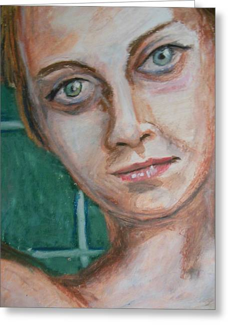Teen Pastels Greeting Cards - Sea Green Eyes Greeting Card by Demian Legg