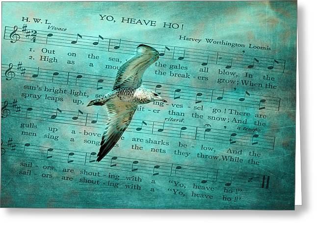 Flying Seagull Mixed Media Greeting Cards - Sea Gull Greeting Card by Linda Muir