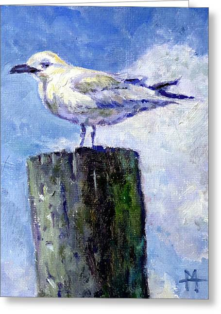 Mountain Climbing Art Print Paintings Greeting Cards - Sea Gull Greeting Card by Mark Hartung