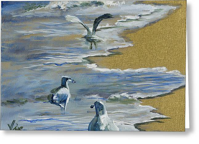 Mo Artist Paintings Greeting Cards - Sea Gulls with Gold Leaf by Vic Mastis Greeting Card by Vic  Mastis