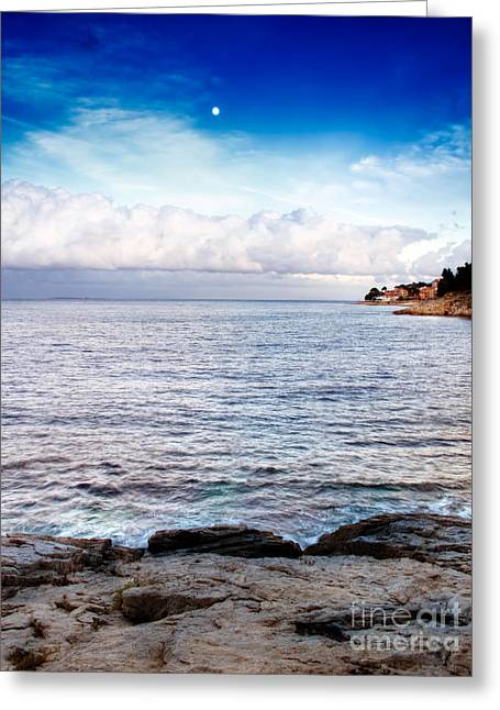 Billowing Greeting Cards - Sea horizon Greeting Card by Sinisa Botas