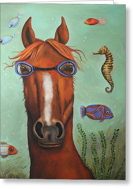 Leah Greeting Cards - Sea Horse better edit Greeting Card by Leah Saulnier The Painting Maniac