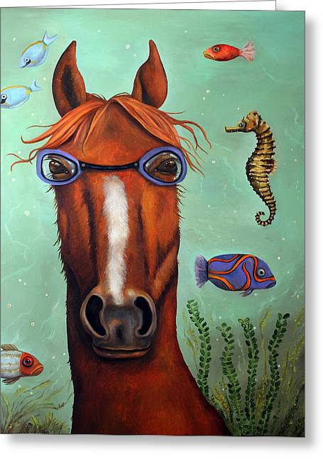 Leah Greeting Cards - Sea Horse edit 2 Greeting Card by Leah Saulnier The Painting Maniac