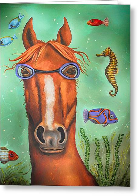 Leah Greeting Cards - Sea Horse edit 3 Greeting Card by Leah Saulnier The Painting Maniac