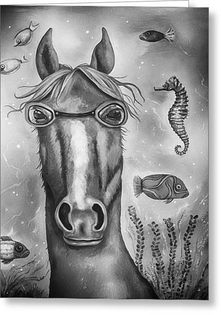 Leah Greeting Cards - Sea Horse edit 4 Greeting Card by Leah Saulnier The Painting Maniac