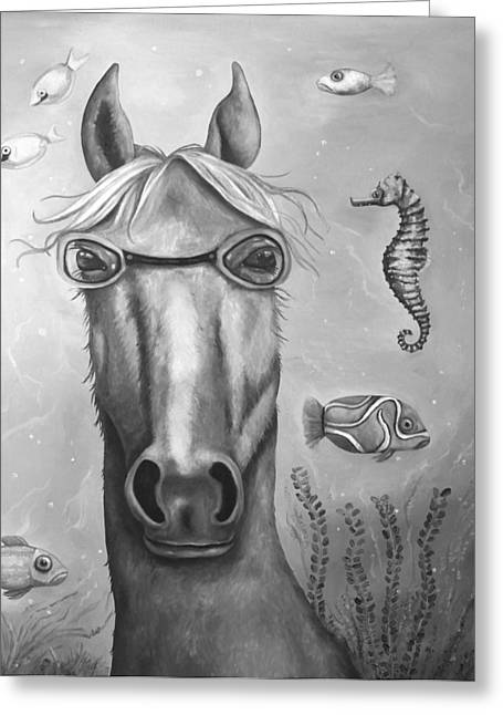 Leah Greeting Cards - Sea Horse edit 5 Greeting Card by Leah Saulnier The Painting Maniac