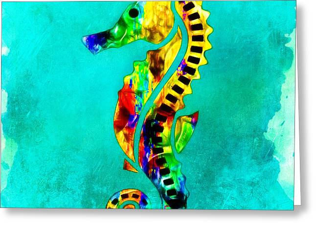 Sea Horse Greeting Cards - Sea Horse In Color Greeting Card by Barbara Chichester