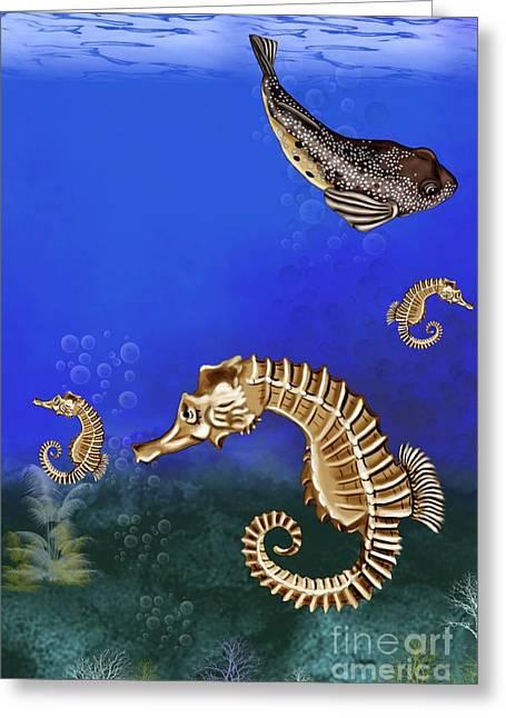 Puffer Fish Digital Greeting Cards - Sea Horse Greeting Card by Karen Sheltrown