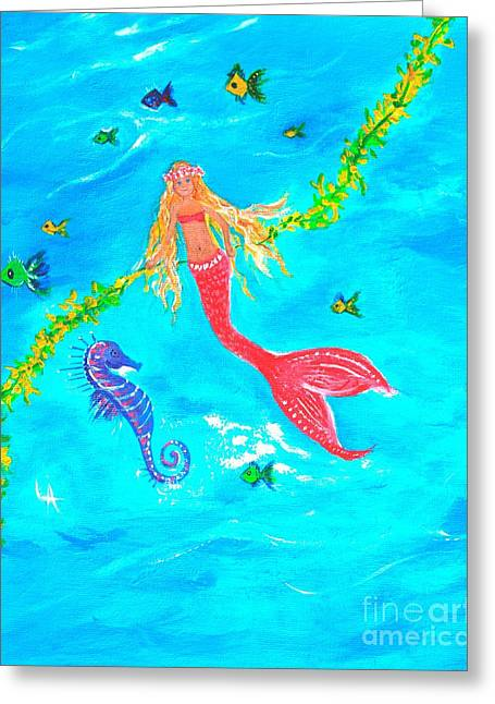 Sea Horse Play Day Greeting Card by Leslie Allen