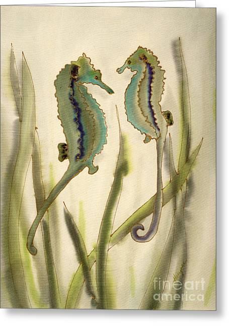 Sea Horses Greeting Card by Addie Hocynec