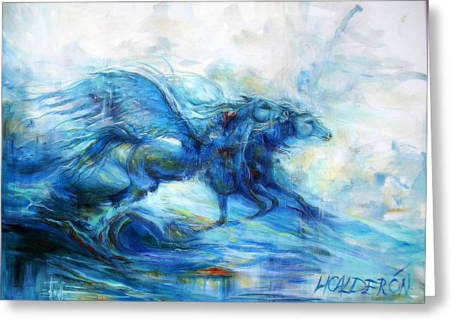 Pegasus Paintings Greeting Cards - Sea Horses Greeting Card by Heather Calderon