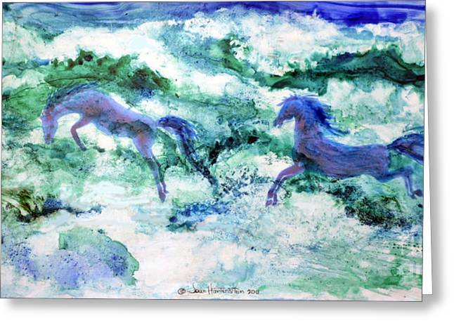 Blue Green Wave Greeting Cards - Sea Horses Greeting Card by Joan Hartenstein