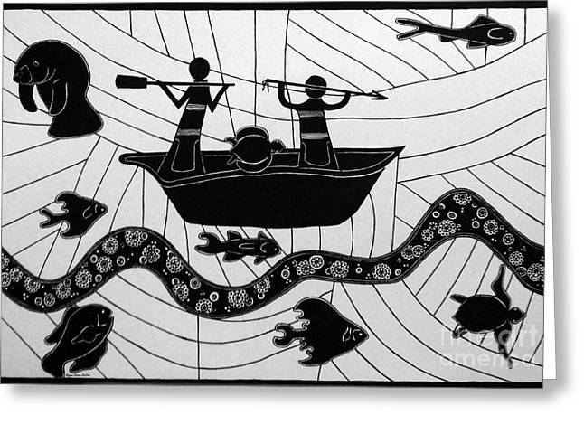Indigenous Drawings Greeting Cards - Sea Hunt Greeting Card by Megan Dirsa-DuBois