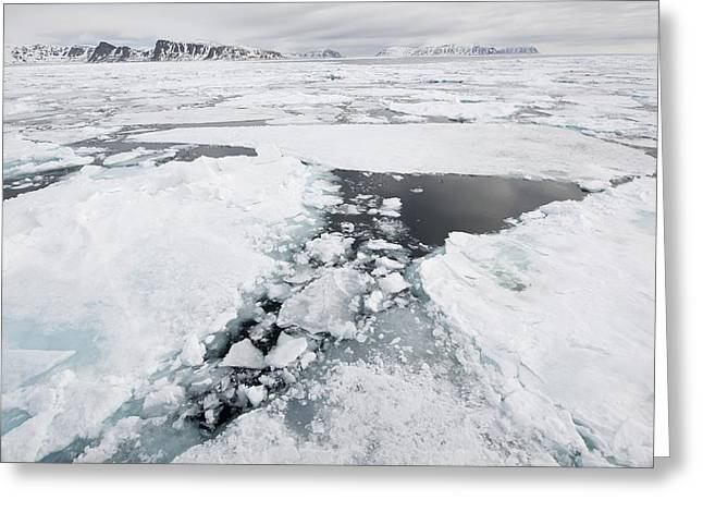 Norwegian Coast Greeting Cards - Sea ice, Norway Greeting Card by Science Photo Library