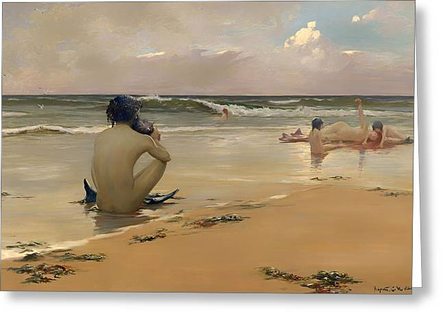 Fabled Greeting Cards - Sea Idyll Greeting Card by Rupert Bunny