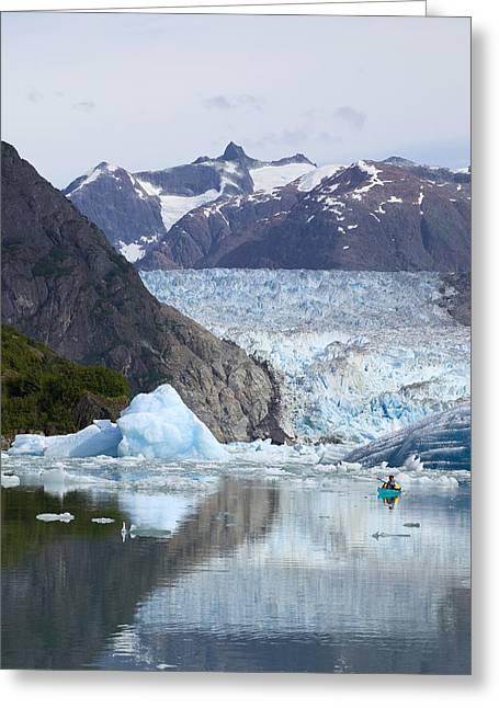 Sea Kayak Greeting Cards - Sea Kayaker Near S.sawyer Glacier Tracy Greeting Card by Michael DeYoung