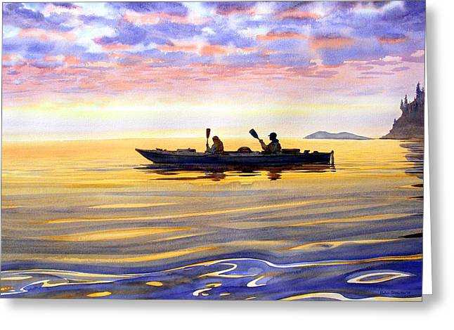 Reflections Of Sky In Water Greeting Cards - Sea Kayakers Alaska Greeting Card by Vladimir Zhikhartsev