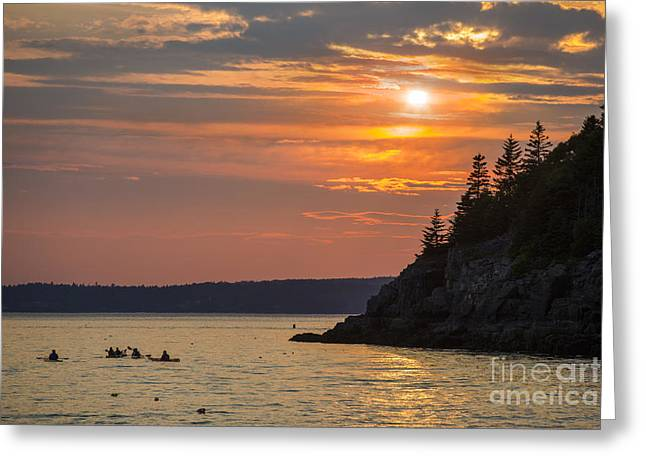 Maine Sunset Greeting Cards - Sea Kayakers in Frenchman Bay Maine Greeting Card by Diane Diederich