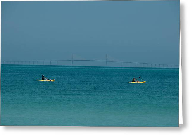 Sea Moon Full Moon Greeting Cards - Sea kayaking Greeting Card by Carolyn Dalessandro