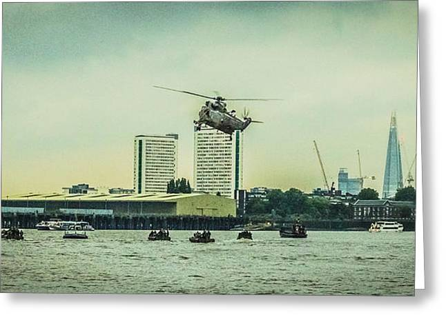 Police Art Greeting Cards - Sea King Helicopter Greeting Card by Dawn OConnor