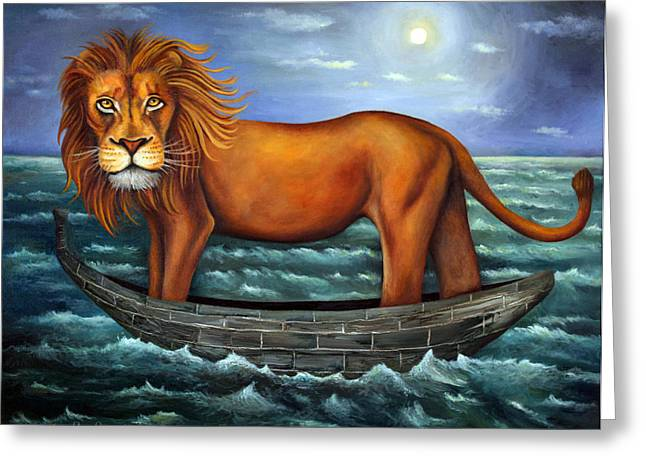 Sea Moon Full Moon Greeting Cards - Sea Lion bolder image Greeting Card by Leah Saulnier The Painting Maniac