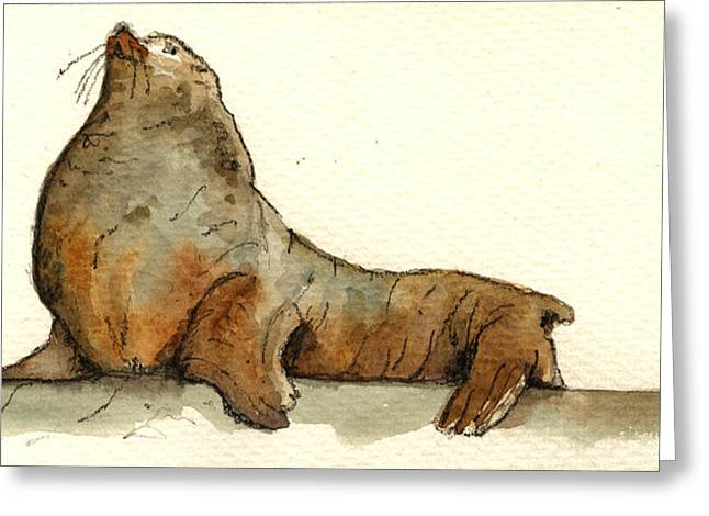 Elephant Seals Greeting Cards - Sea lion Greeting Card by Juan  Bosco