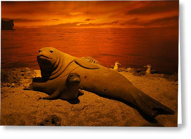 Sea Lions Greeting Cards - Sea Lion Pup With Mom Greeting Card by Sheela Ajith