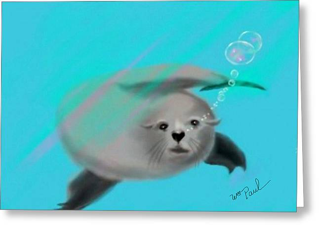 Sea Lions Mixed Media Greeting Cards - Sea Lion Greeting Card by William  Paul Marlette