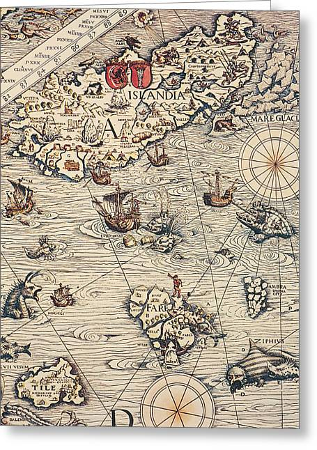 Border Drawings Greeting Cards - Sea Map by Olaus Magnus Greeting Card by Olaus Magnus