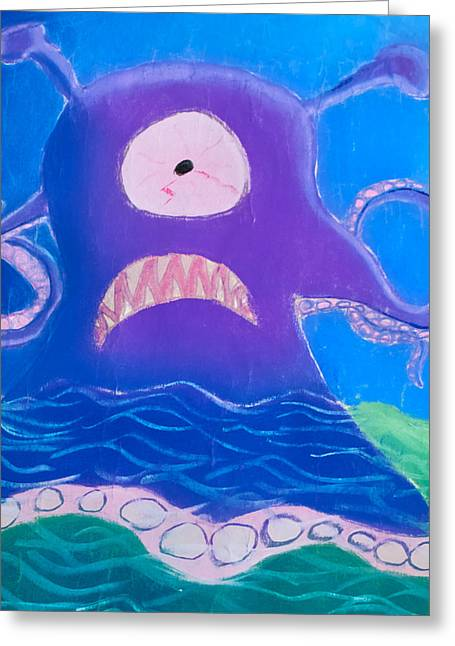 Jelly Fish Pastels Greeting Cards - Sea Monster Greeting Card by Joshua Maddison