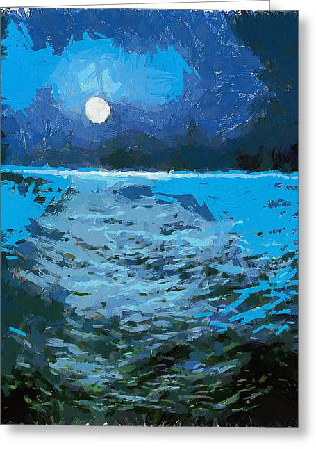 Paper Moon Greeting Cards - Sea Moon Greeting Card by Yury Malkov