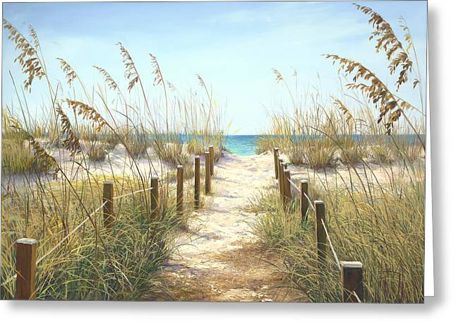 Tropical Beach Greeting Cards - Sea Oat Path Greeting Card by Laurie Hein