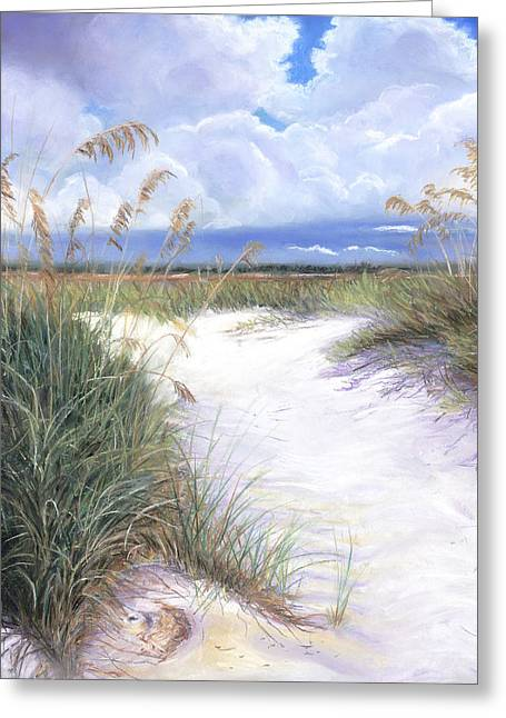Sand Dunes Pastels Greeting Cards - Sea Oats Greeting Card by Lorraine Potocki